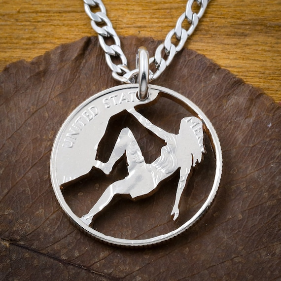 Rock Climber Girl Necklace, Woman Climbing, Rock Climbing Gift, Hand Cut Coin