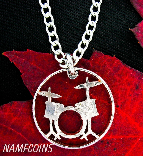 Drum Set Necklace, Rockers jewelry, Drummer Gift, Band, hand cut coin