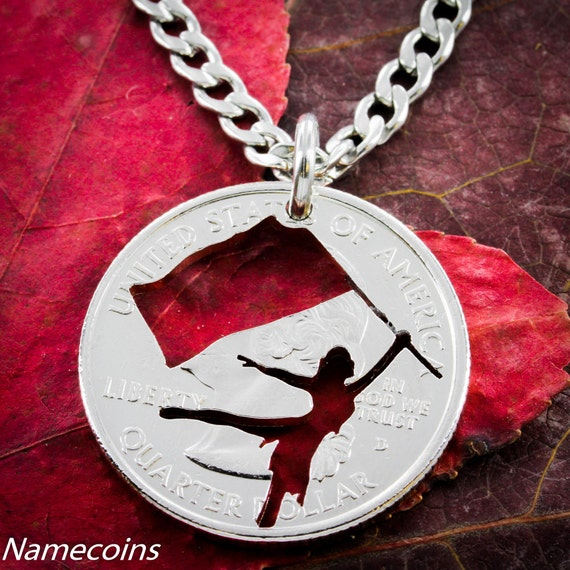Color Guard Necklace, Hand Cut Coin