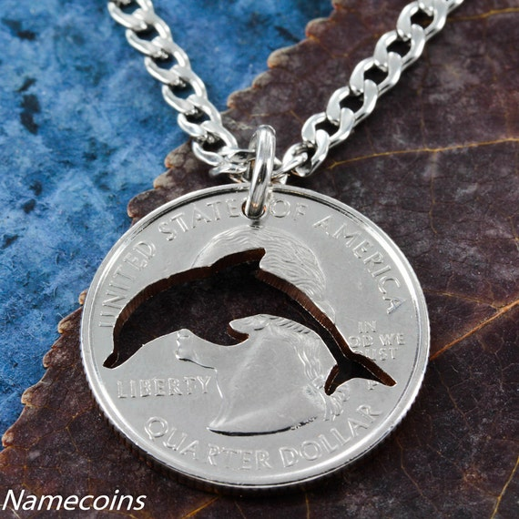 Dolphin Necklace Cut From a Quarter, Hand Cut Coin