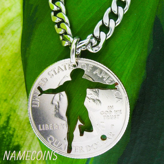 Soccer Necklace, Men's Athletic Jewelry, Sports Gifts For Men, Necklace or Key Chain, Hand Cut Coin
