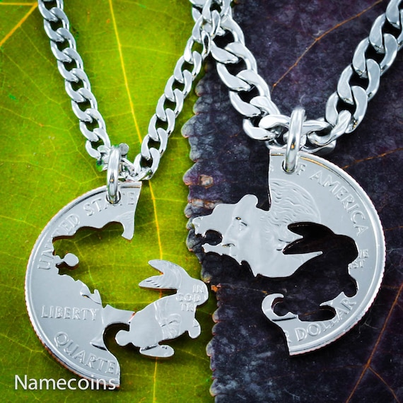 Bear and Bunny Necklace Set, BFF and Couples Necklaces Interlocking Hand Cut Coin