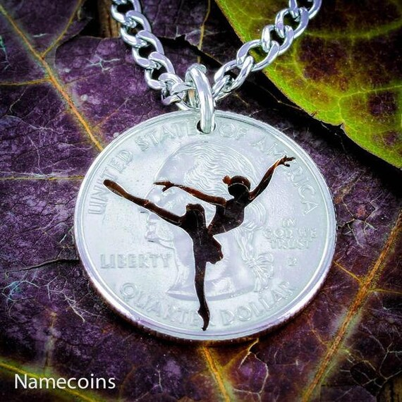 Ballerina Dancer necklace, Ballet Jewelry, hand cut coin