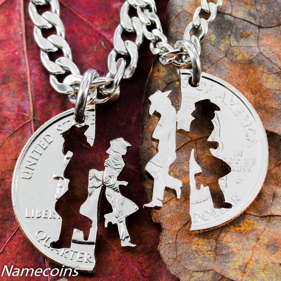 Cowgirl Jewerly, His and Hers Cowboy Necklaces, Western Couples Gifts, Matching Set, Gifts for Her, Hand Cut Coin