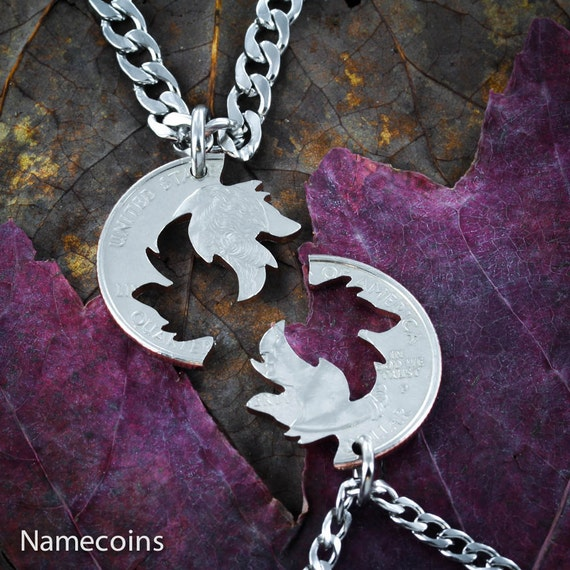 Wolf Couples Necklaces, Wolves Jewelry, BFF Necklaces, Interlocking Puzzle Set, Made from a Hand Cut Quarter