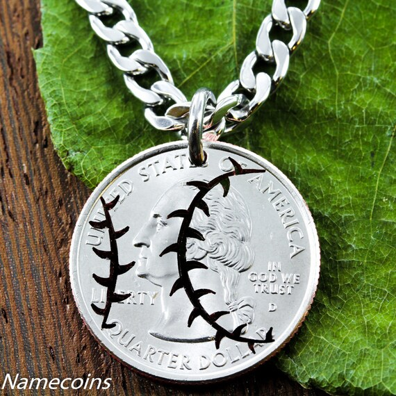 Baseball Necklace, Softball Hand Cut Coin Jewelry, Sports Gifts For Men and Women