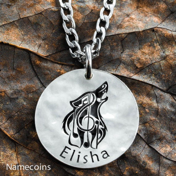 Silver Wolf Music Note Necklace with Your Custom Name Engraved, Hammered Silver Coin