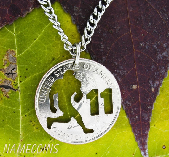 Running Back Football Necklace with Custom Number, Hand Cut Coin