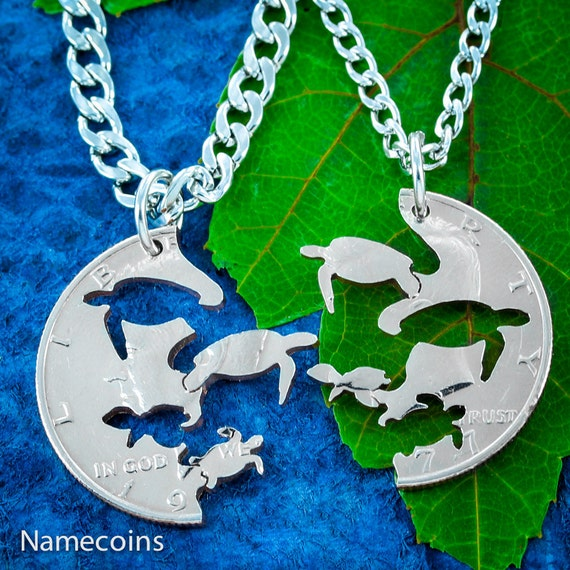 Turtle Necklaces with Baby Sea Turtles, Interlocking Pendants for parents, Couples Necklaces, Hand Cut Jewelry