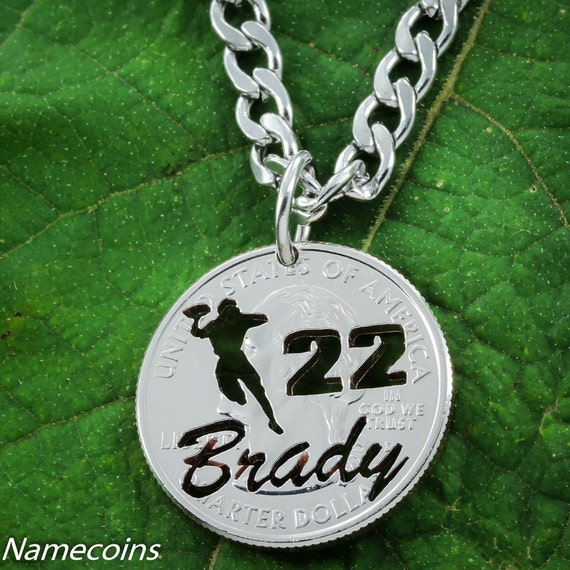 Football necklace with your Name and Jersey Number, Quarterback, hand cut quarter, Sports Gifts for Men