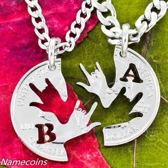 Best Friend Necklaces with your initials, ASL I love you hands, BFF Gifts, hand cut coin