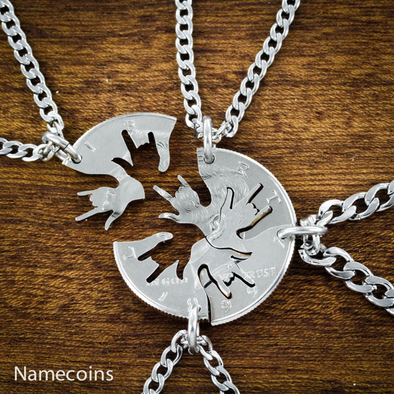 4 piece Best Friend Necklace, I love you hands in ASL cut on a half dollar