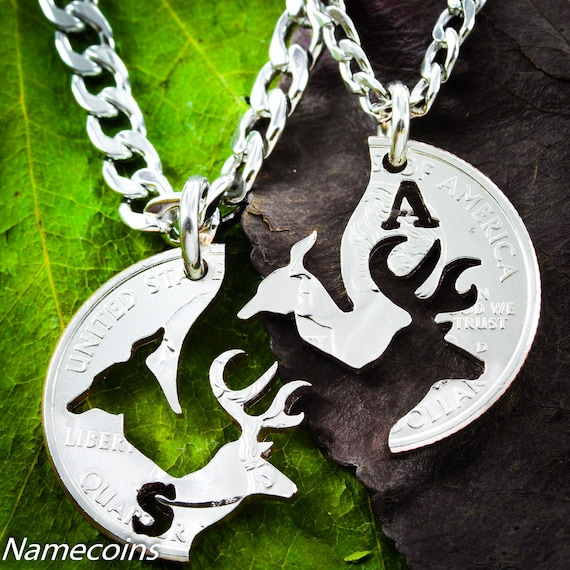 Mens Necklace Buck and Doe love quarter customized with one initial each, hand cut coin