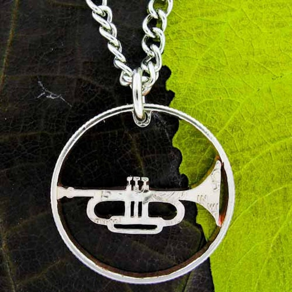 Trumpet Necklace, band Jewelry, musician cut coin