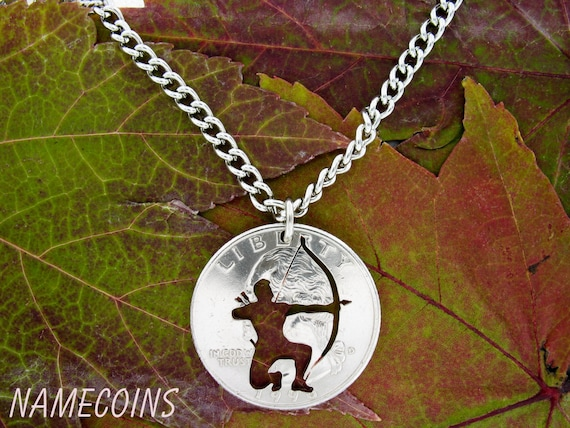 Archer Necklace, Bow Hunting Jewelry, Hand Cut Coin