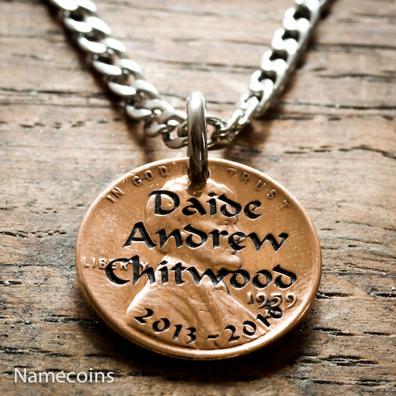 Penny Necklace, Engraved Names and Date, Memorial Necklace, Funeral Jewelry