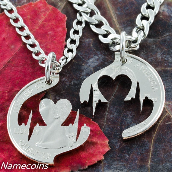 Heartbeat Couples Necklaces, Pulse jewelry, Heart Necklace, Love, Boyfriend and Girlfriend Gift, hand cut coin
