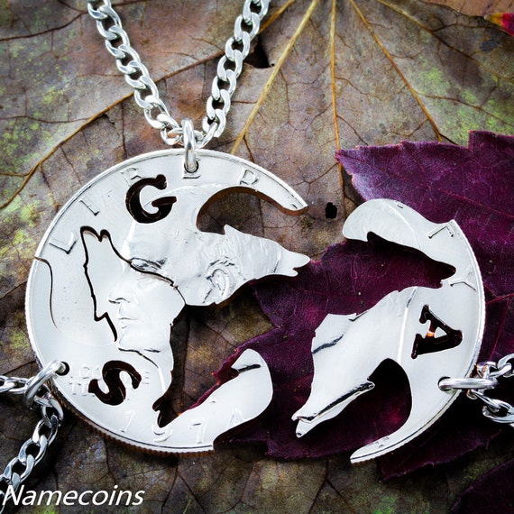 3 Best Friends Wolf Necklaces with Custom Initials, Hand Cut Coin