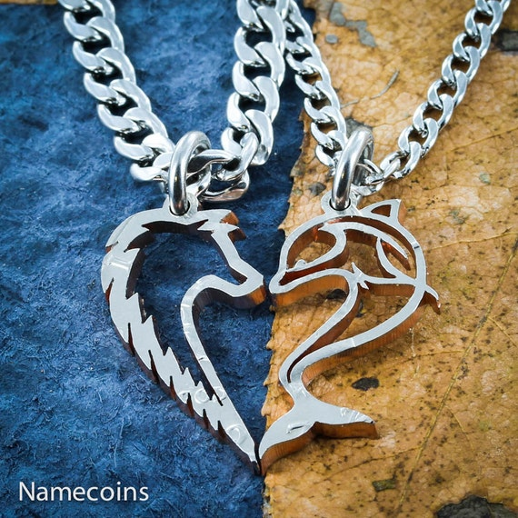 Wolf and Dolphin Couples Necklaces, Makes a Heart When Together, Interlocking Hand Cut Coin