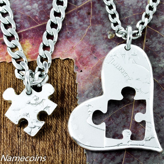 Puzzle Piece Necklace Heart, Silver half dollar, hand cut coin