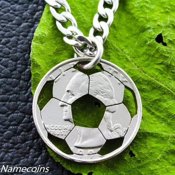 Soccer Necklace, Sports Gifts For Boys and Girls, Soccer Mom, Hand Cut Coin