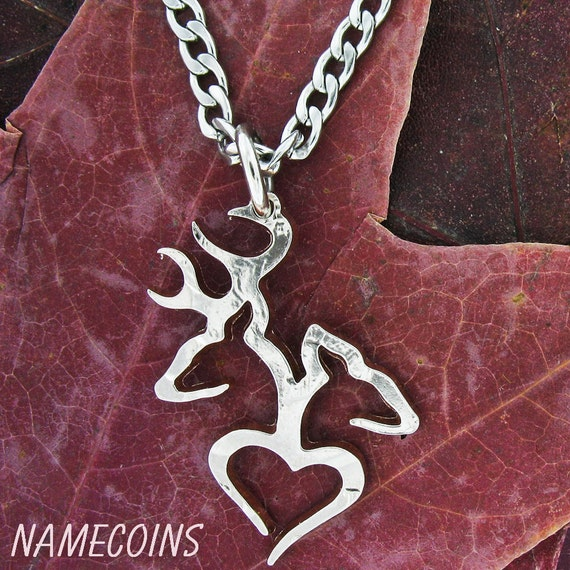 Country Necklace Buck Doe Love Heart in 1/2 dollar