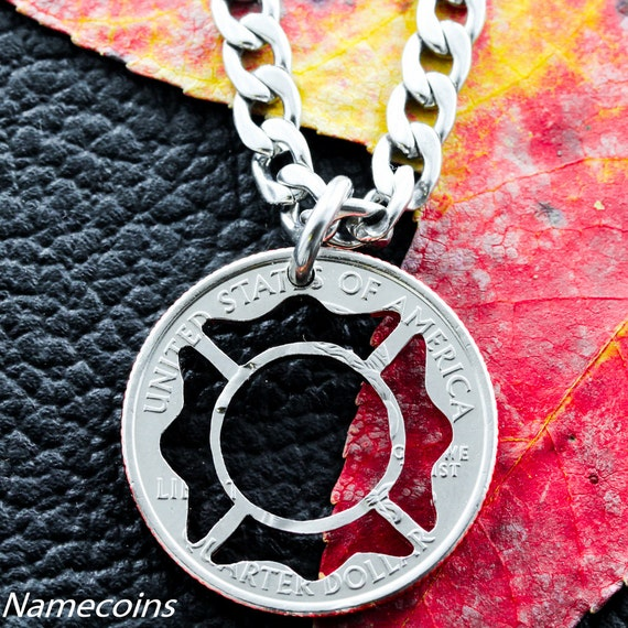 Firefighter necklace, fireman jewelry, hand cut coin, Necklace or KeyChain