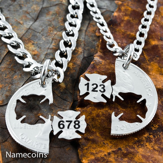 Firefighter and Wife Necklaces, Custom Engraved With Numbers, Interlocking like a puzzle, Hand Cut Coin, Namecoins