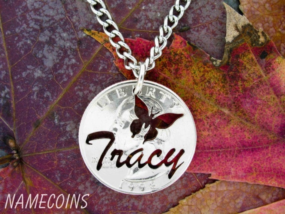 Custom NameCoin Necklace with Butterfly, Name Jewelry, hand cut Quarter
