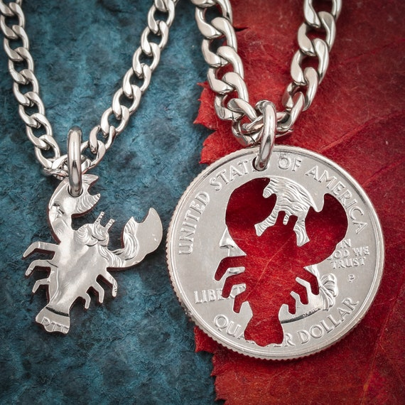 Lobster Couples Necklaces, I'm His Lobster, I'm Her Lobster, Best Friends and Couples Jewelry, Hand Cut Coin