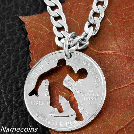 Basketball Necklace, Sports Gifts for Boys, Player Silhouette Hand Cut From Coin