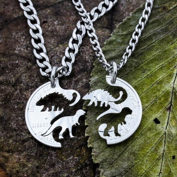 Ankylosaur T Rex, Dinosaur Best Friends Gift Necklaces for 2, BFF Tyrannosaurus,  Interlocking Set