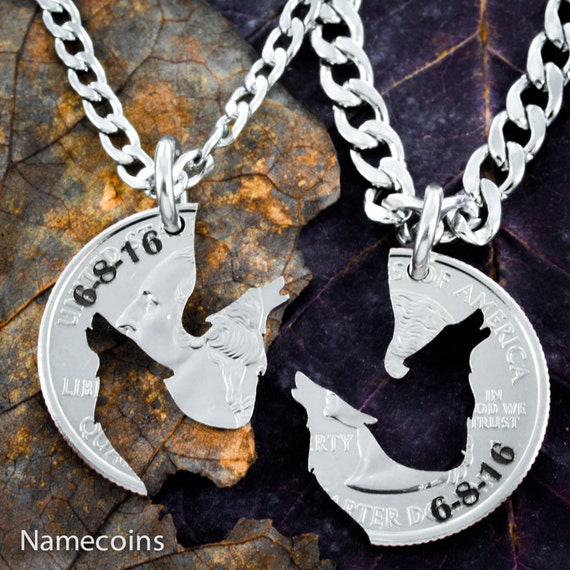 Anniversary Date Howling Wolf Necklaces, Custom Engraved, Couples Jewelry, Best Friends Necklaces, Cut and Etched Coin