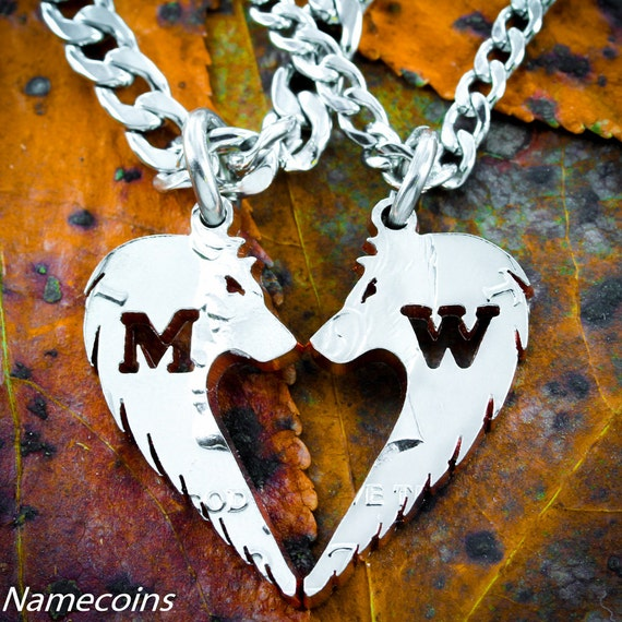 Wolf Heart Couples Necklaces with custom initials, BFF Gifts, Best Friends Or Couples Jewelry, handcrafted half dollar, hand cut coin