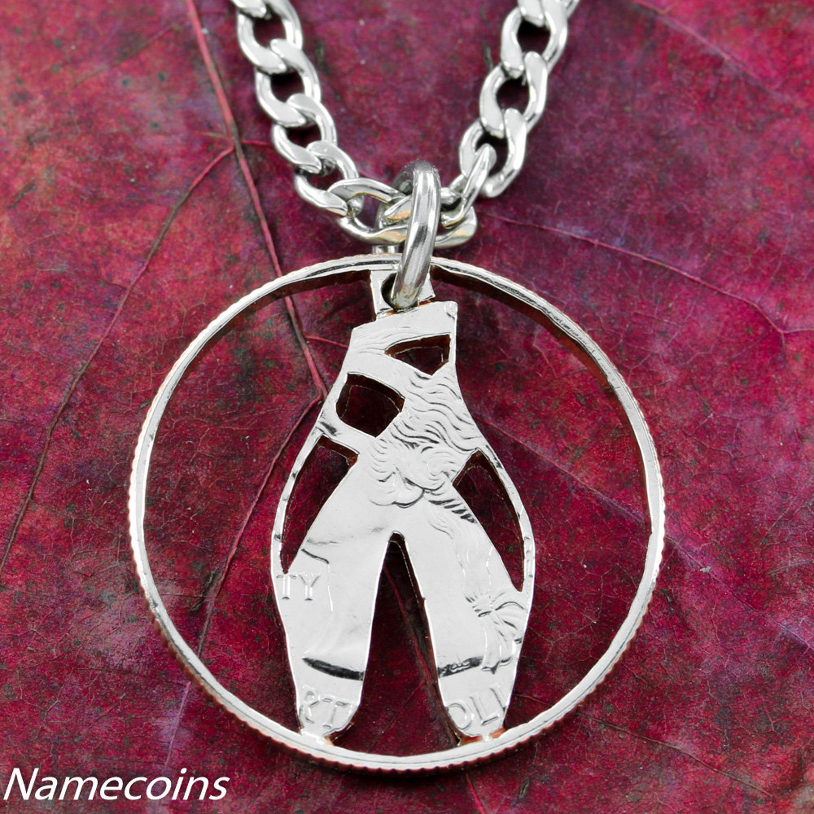 ballerina shoe necklace, dance jewelry, gifts for women, ballet dancer slipper necklace, hand cut coin