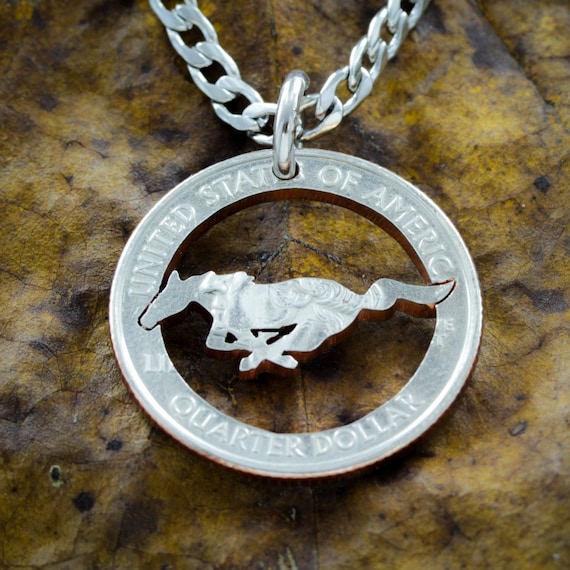 Mustang Running Horse Necklace, Equestrian Western Horse Lovers Pendant, Hand Cut Coin
