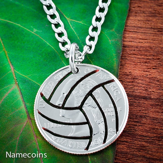 Volleyball Necklace Hand Cut from a US Coin, Sports Gifts for Her or Him, with stainless steel chain