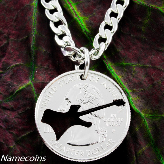 Electric Guitar Necklace, Rock Band Jewelry,  handcut quarter necklace
