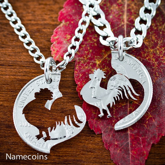 Rooster BFF Necklaces, Best Friend Gift, Interlocking halves of a coin.