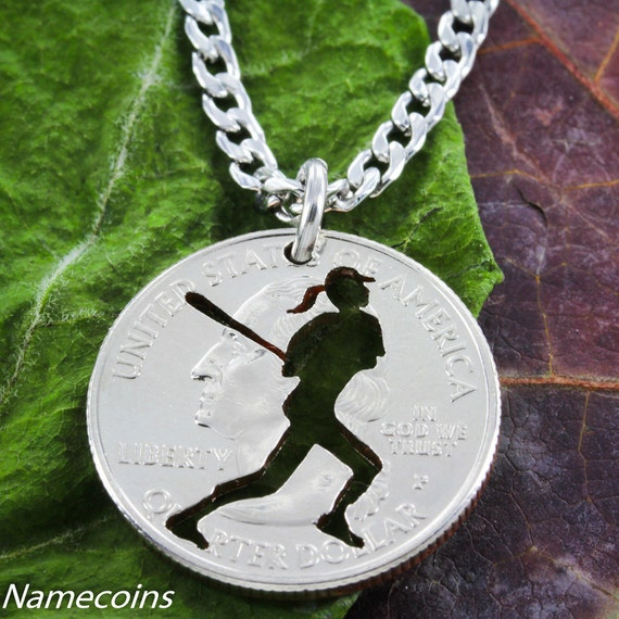 Softball Necklace, Batter, Sports Gifts For Women, Hand Cut Coin Jewelry, Choose Your Special Quarter