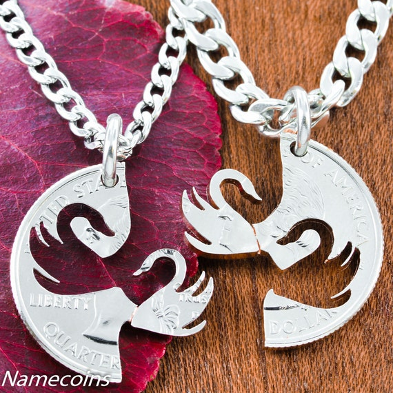 Swan Necklaces, Couples Jewelry, Hand Cut Coin