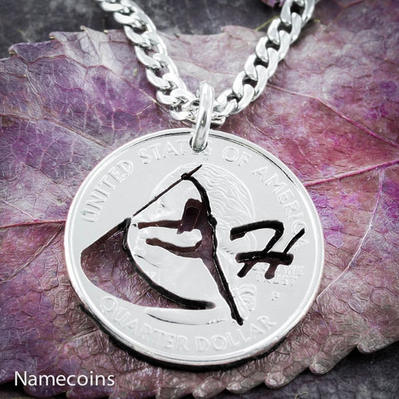 Color Guard Necklace with Your Custom Initial, Sports Gifts for Girls, Hand Cut Quarter