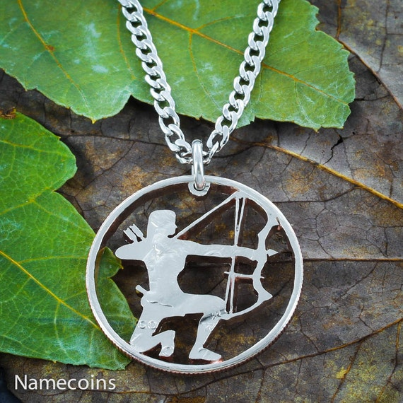 Archer Necklace, Girl hunting, Compound Bow and Arrow Necklace, Sports Gifts For Women, Hand Cut Half Dollar