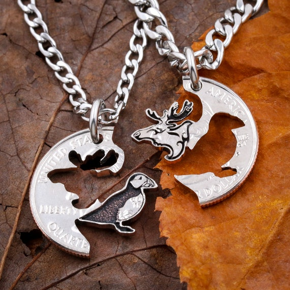 Puffin and Moose Best Friends Necklaces, Bull Moose, Puffin, Gifts, Hand Cut Coin Jewelry