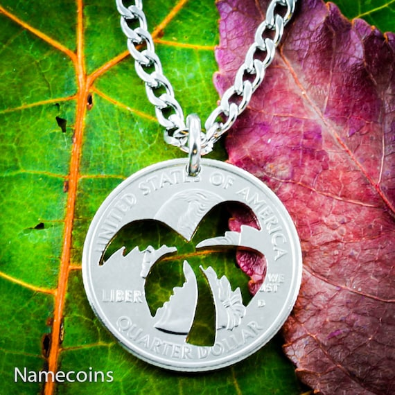 Palm Tree Necklace, hand cut coin
