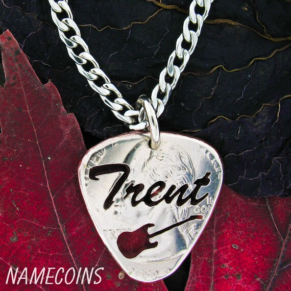 Custom Guitar Pick Necklace, With Your Name, Hand Cut Coin