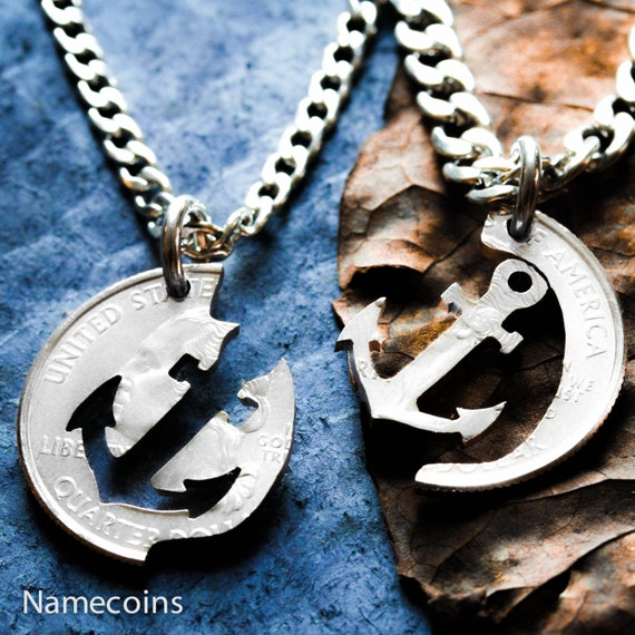 Anchor Couples Necklaces, BFF Gift, Relationship or Best friends jewelry, His and her interlocking necklaces. Cut by hand from a coin.