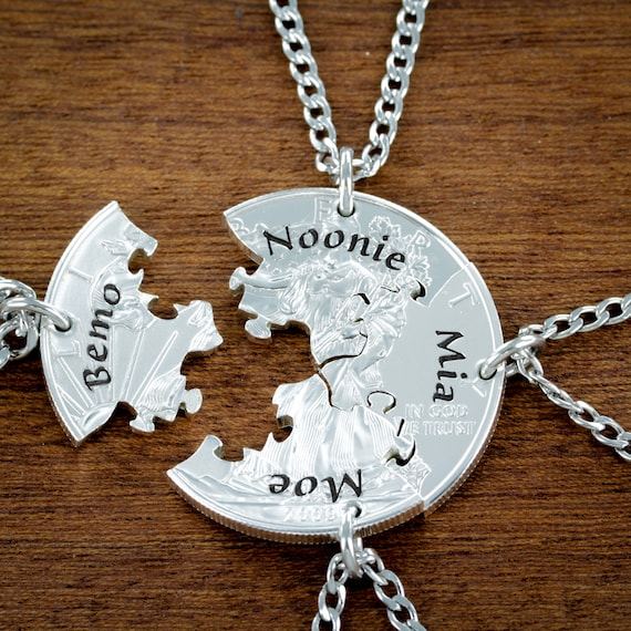 4 Puzzle Piece Necklace set, Best Friends Personalized Name Necklaces, 4 BFF Jigsaw Gift, Coin Jewelry