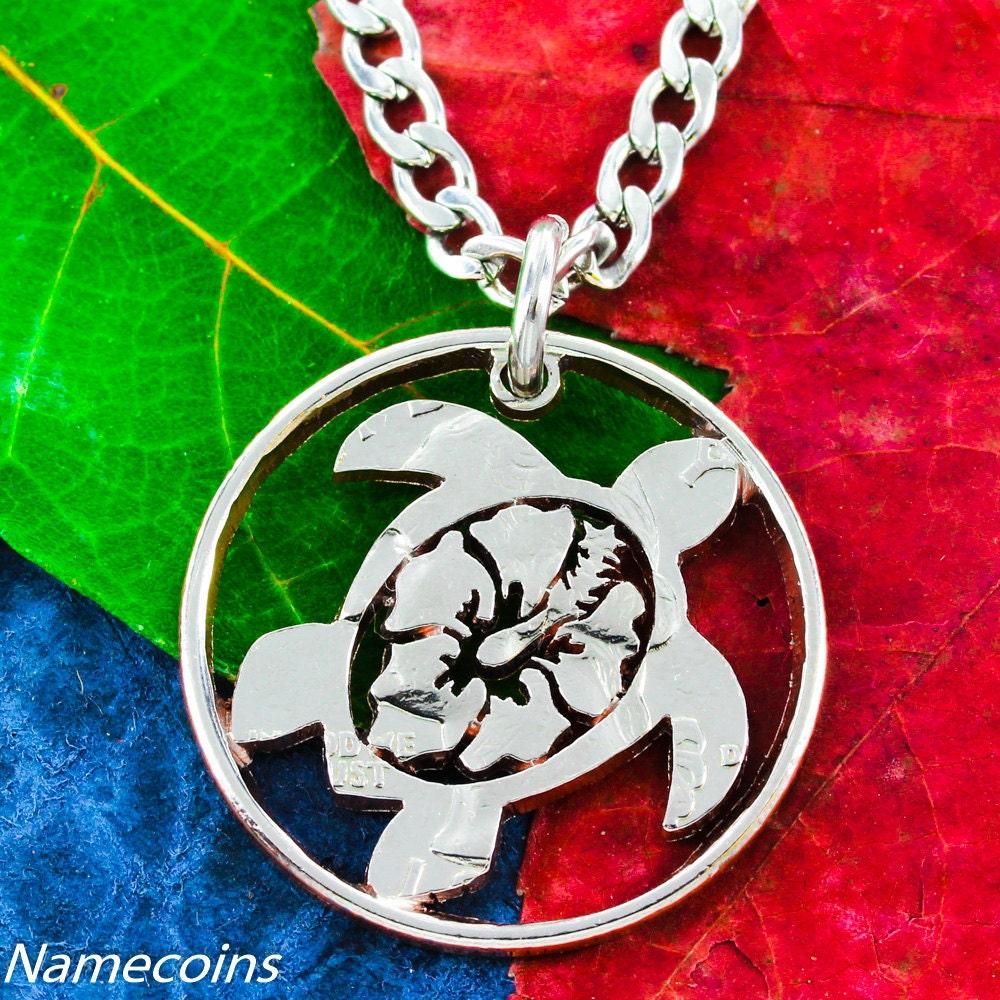 Hawaiian turtle necklace hibiscus flower jewelry hand cut quarter izmirmasajfo