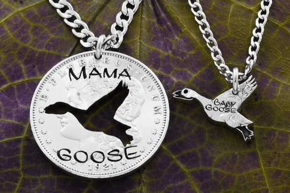 Mama Goose and Baby Goose Engraved Necklaces, New Mother, New Baby, Family Jewelry Set, Hand Cut Coin
